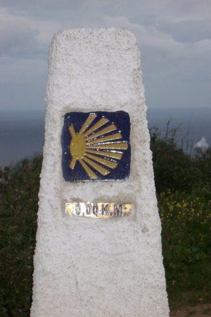 Die 0,00 km Jakobswegmarkierung in Finisterre