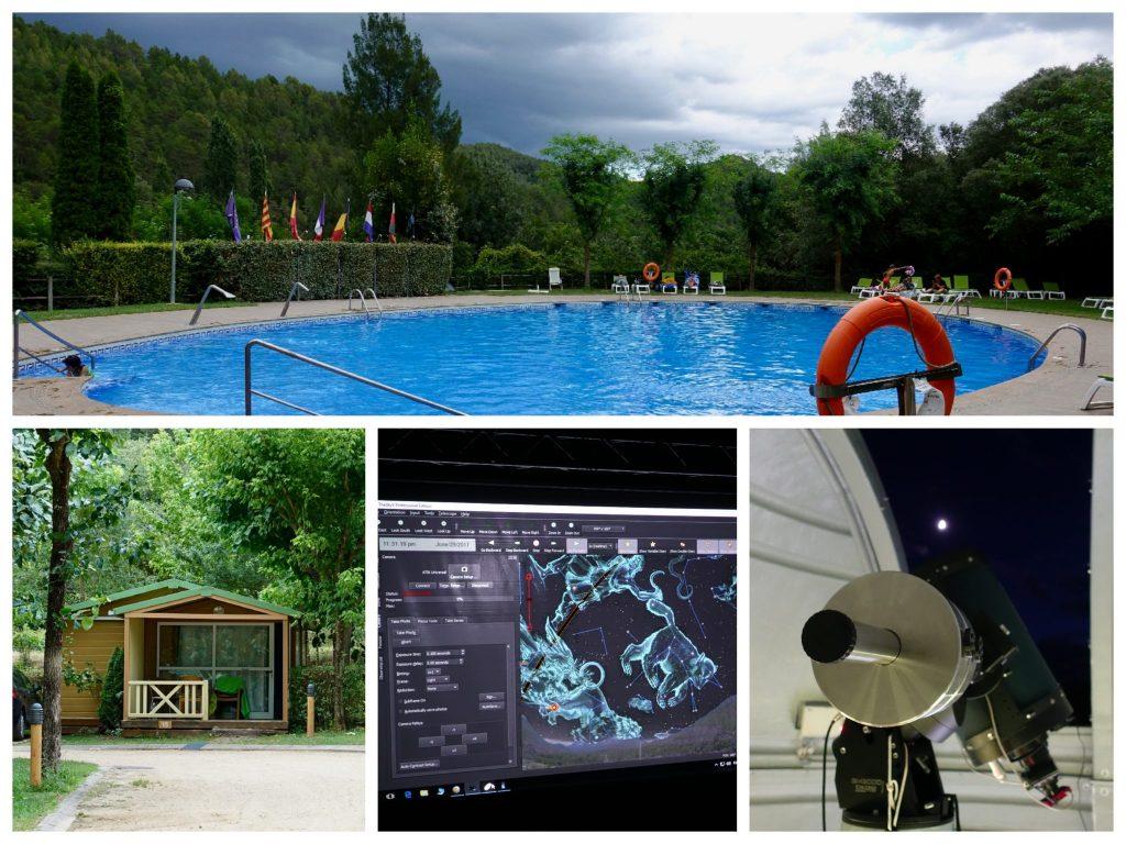 Campingplatz Bassegoda Park: blauer Pool, Bungalow im Grünen, Vorführung beim Observatorium mit Sternenkonstellationen am Himmel, Teleskop im Observatorium