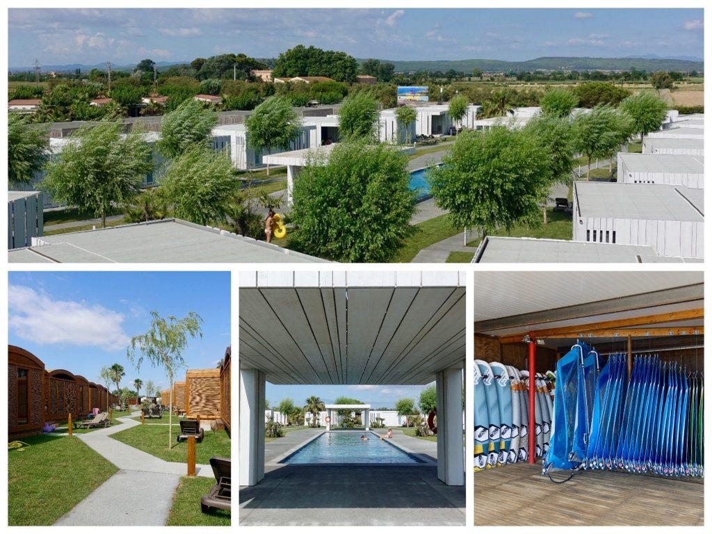 Collage Camping La Ballena Alegre: Aussicht vom Spa-Bereich auf Bungalow und die Bäume, Holz-Bungalows, Pool, blaue Segel in der Surfschule