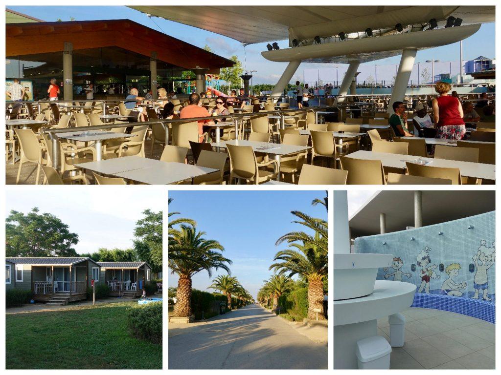Collage Camping Las Dunas: überdachter Restaurantbereich, Bungalows mit Wiese davor, die von Palmen gesäumte Allee, Kindersanitäranlage