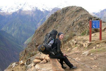 Mein schwerer Rucksack und ich am Choquequirao Trek in Peru