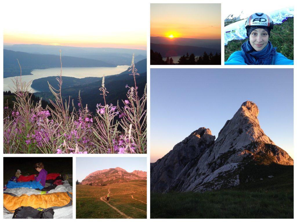 Abendwanderung und Nacht am Berg, Paragleiten am Morgen