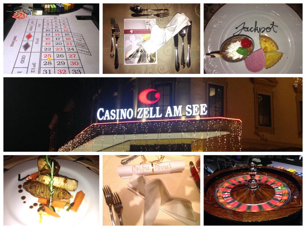 """Collage: Roulette und leckeres Casino-Menü gibt es bei den """"Dinner & Casino"""" Kurzurlaubsangeboten in Zell am See"""