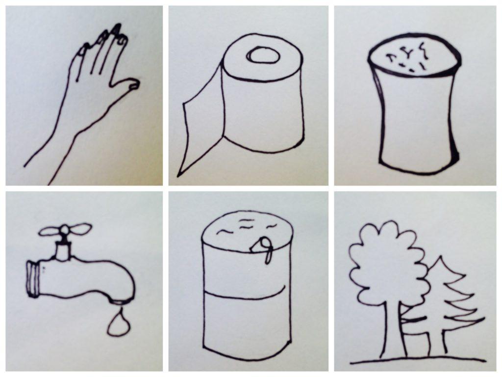 Collage der verschiedenen Klobehelfe