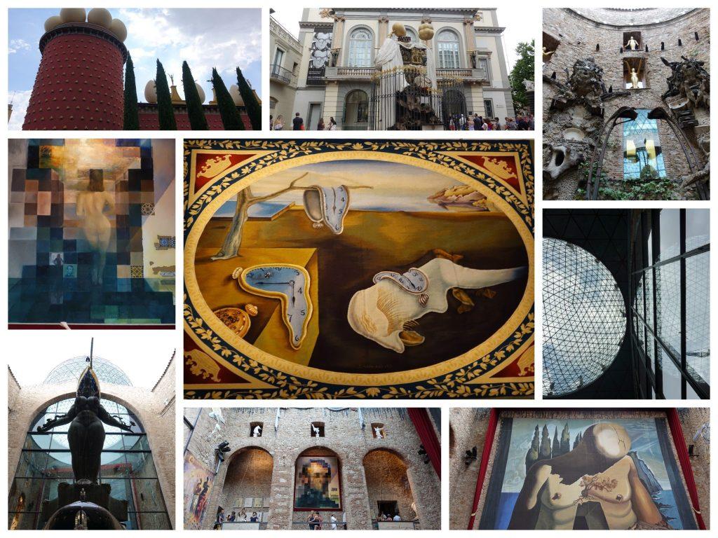 """Bildcollage: oben/links: Ein roter Turm mit weiß besetzten Eiern; oben/Mitte: der Eiinang vom Theatermuseum mit Statue davor; oben/rechts: der Innenhof mit Skulpturen; Mitte/links: ein Gemälde von Dali, wo aus der Ferne Lincoln zu erkennen ist und von nahe eine nackte Frau von hinten; Mitte/Mitte: Gemälde """"Die Beständigkeit der Erinnerung"""" mit zerrinenden Uhren; Mitte rechts: Blick zur Glaskuppel in der Mitte des Museums; unten links: Skulptur im Innenhof; unten/Mitte: Galerie im Zentrum des Museums, wo an einer Wand das Lincoln Bild zu sehen ist; unten rechts: Bühnenbild mit Person, die den Kopf nach unten hängen lässt"""