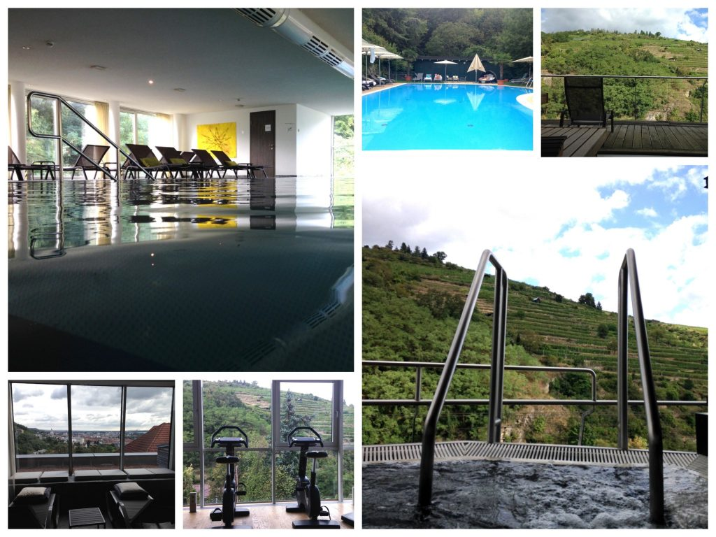 Innen-, Aussenpool, Sauna, Ruhezone, Fitnessraum & Whirlpool des Steigenberger Hotel Krems