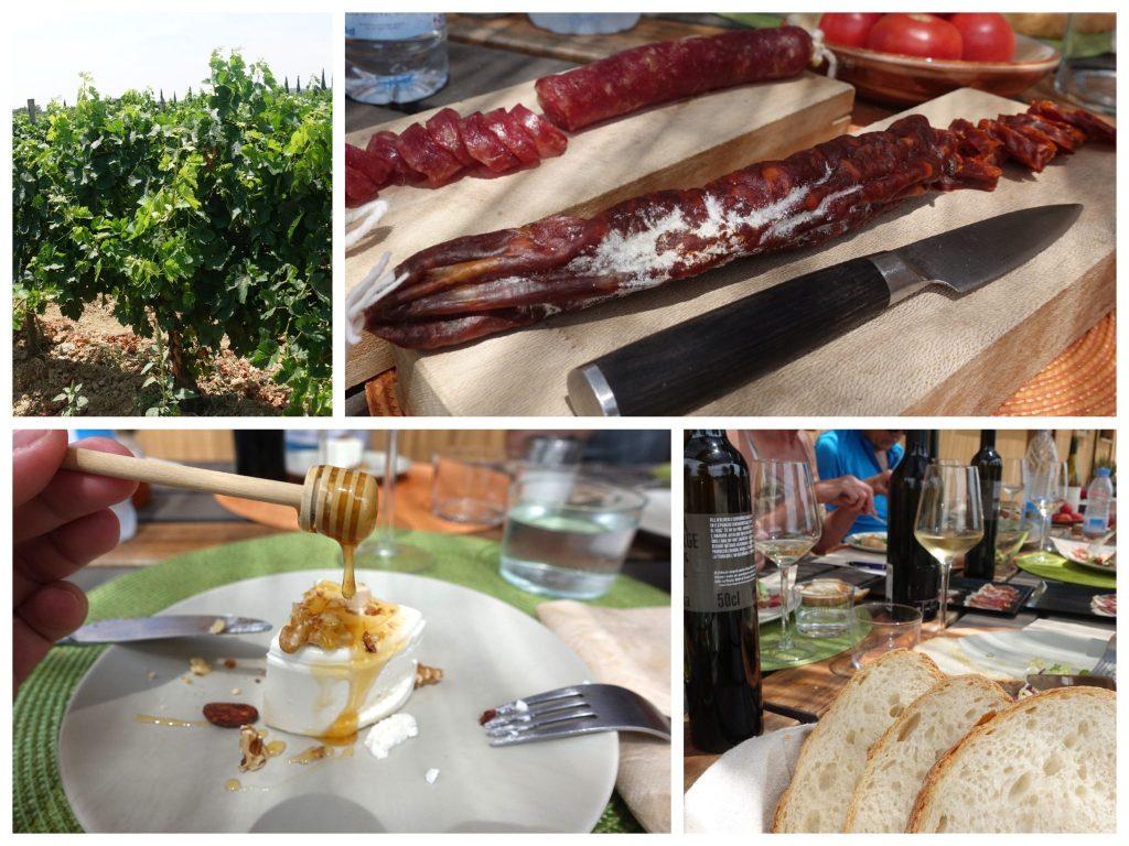 Collage vom Essen am Weingut La Vinyeta: oben links: grüne Weinstöcke; oben rechts: zwei längliche aufgeschnittene Würste und ein Messer; unten links: ein weißer Käse über den Honig mit einem runden Stab getropft wird; unten rechts: Blick auf Tisch mit Brot und Weinflaschen
