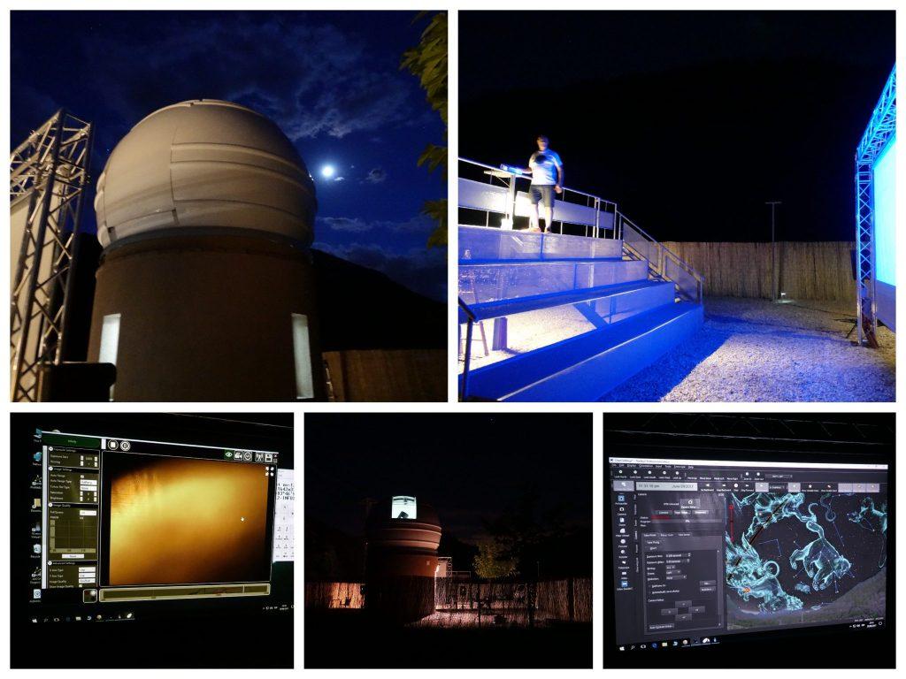 Collage des Observatoriums vor und bei der Sternenbeobachtung: oben links: die runde Kuppel des Observatoriums; oben rechts: die BesucherInnentribüne; unten links: ein Programm zeigt den Blick des Telekops; unten MItte: das Observatorium von weiter weg in der Dunkelheit; unten rechts: Blick des Telekops, das Programm zeigt die sichtbaren Sternenbilder
