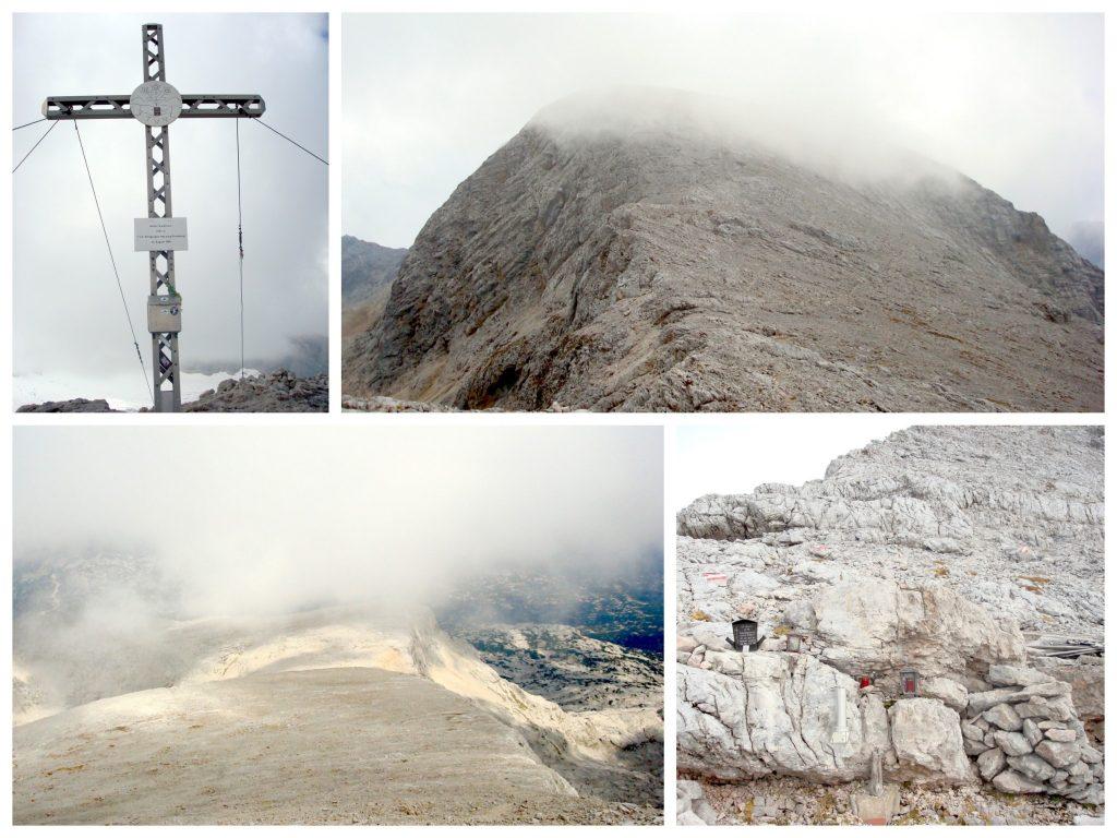 GIpfelkreuz am Hohen Gjaidstein; Hoher Gjaidstein in den tiefhängenden Wolken; Nebelschwaden auf der Hochebene zwischen Taubenkogel und Gjaidstein; Taubenkogelnarr