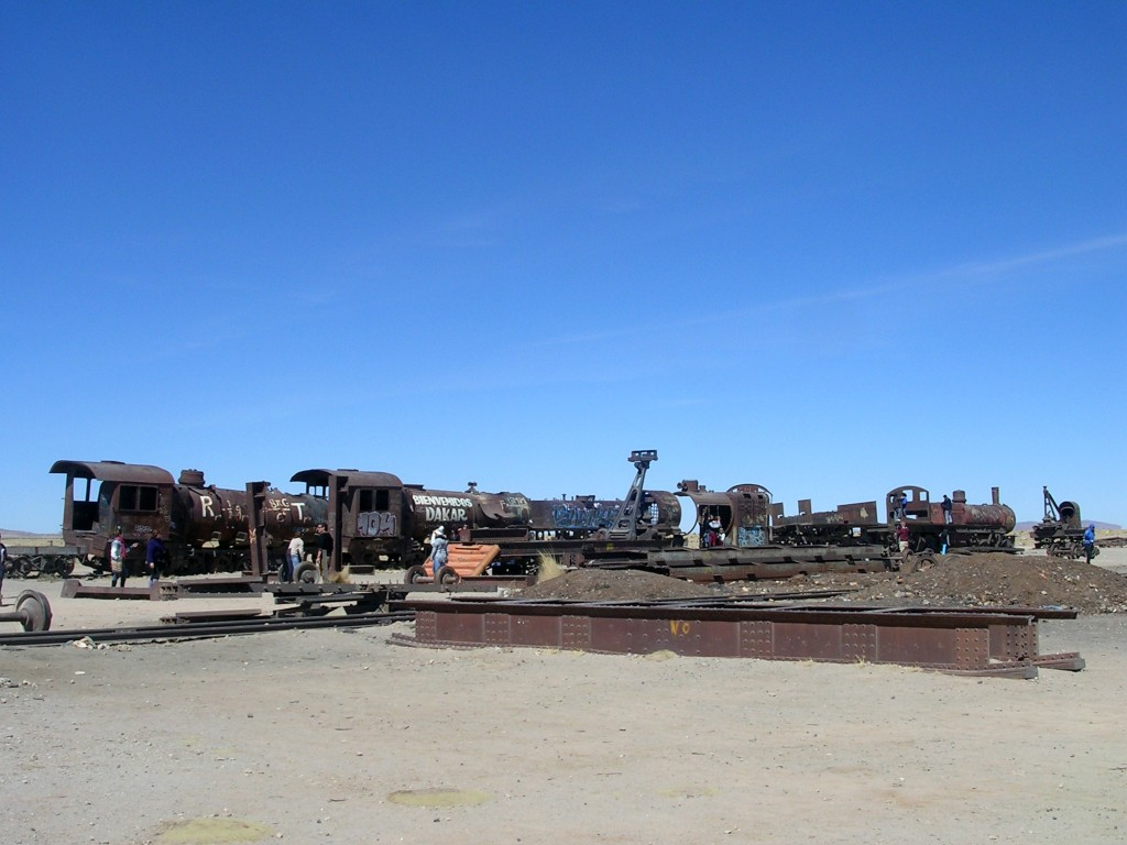 Eisenbahnfriedhof in der Salar de Uyuni