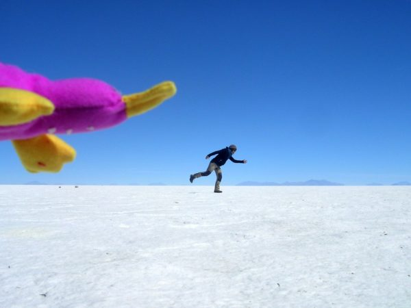 Ich mit Ente in Colchani in der Salar de Uyuni