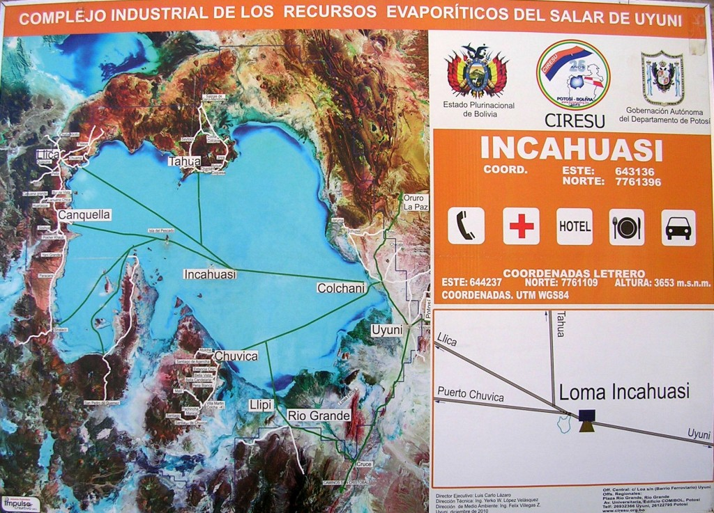 Informationstafel in Incahuasi in der Salar de Uyuni