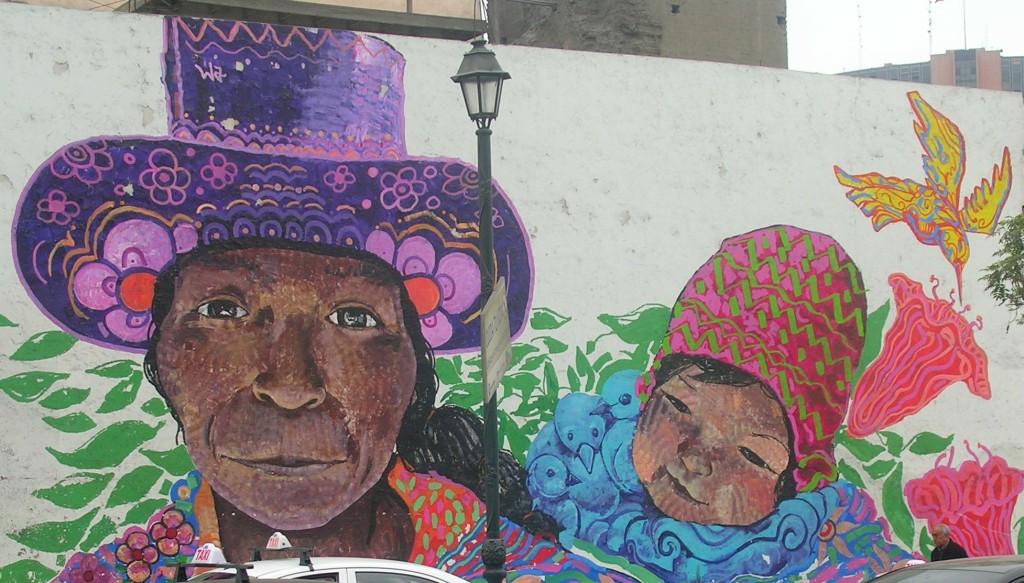 Streetart in Lima: Mutter mit Kind