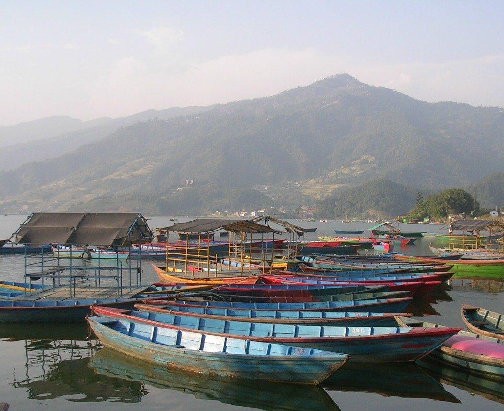 Die berühmten Boote am Phewa See in Pokhara: mehrere bunte, hellblaue Boote (innen und außen) sind nebeneinander am See angehängt. Im Hintergrund sieht man einen bewaldeten Hügel.