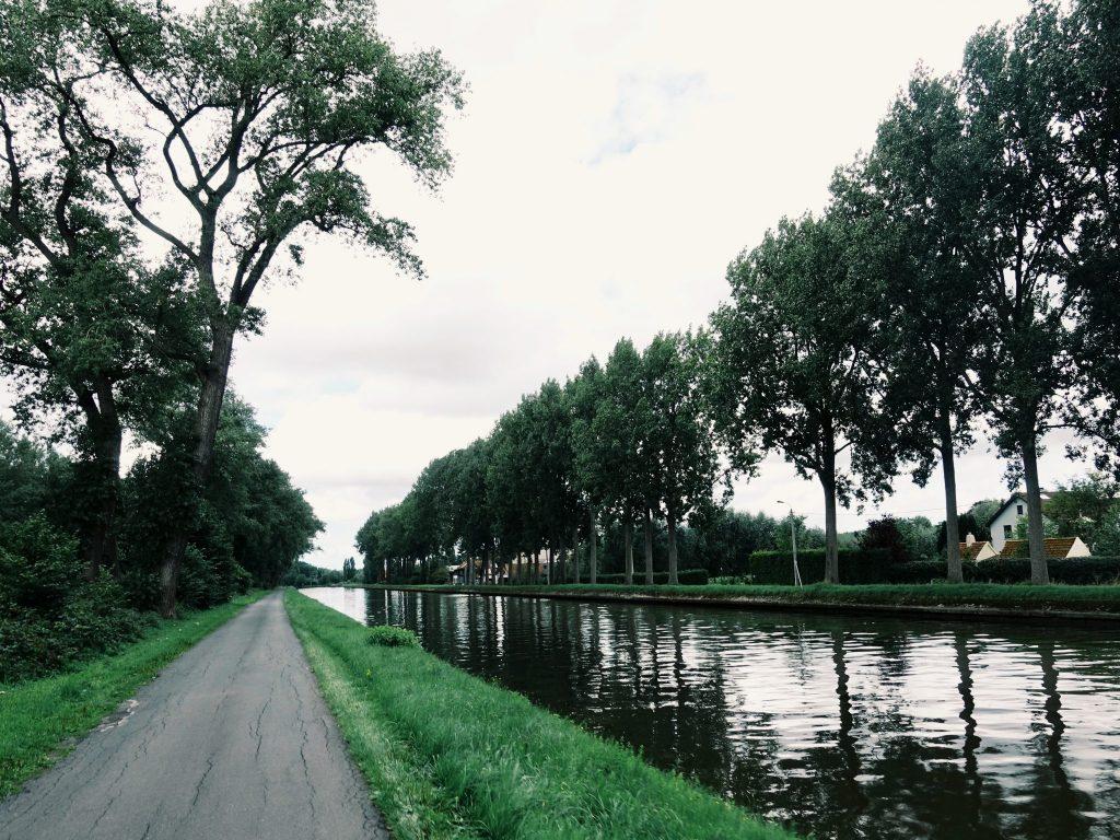 Ein Weg neben einem Kanal gesäumt von Bäumen