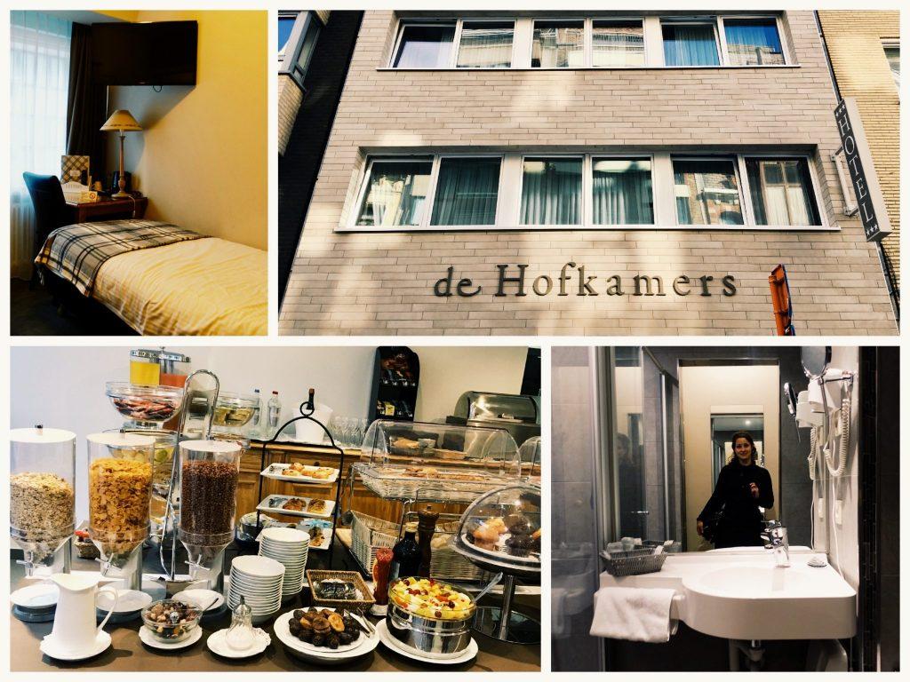 Fotocollage vom Hotel de Hofkamers: Mein Zimmer, die Front des Hotels, das Frühstücksbuffet, das Bad