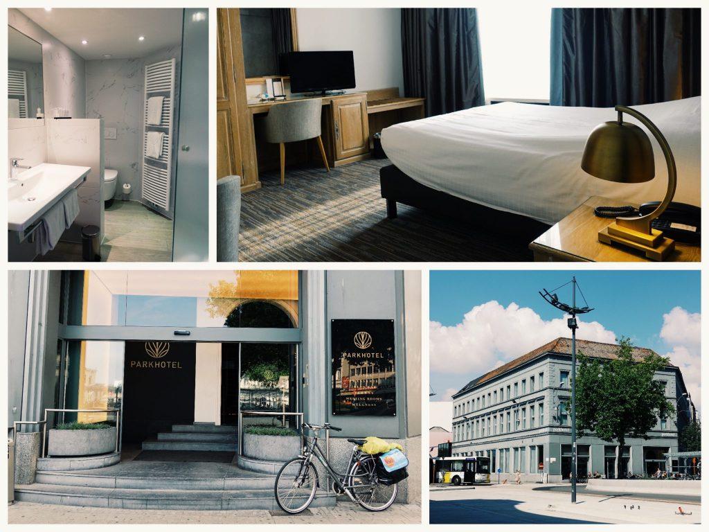 Fotocollage vom Parkhotel in Kortrijk: das Bad, das Zimmer, der Hoteleingang mit Rad, das Gebäude