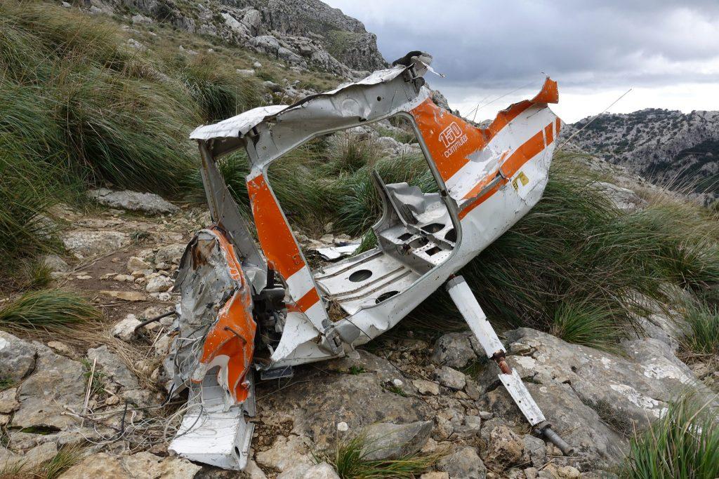 GR 221: Abgestürztes Flugzeug beim Tossals Verds in der Serra Tramuntana
