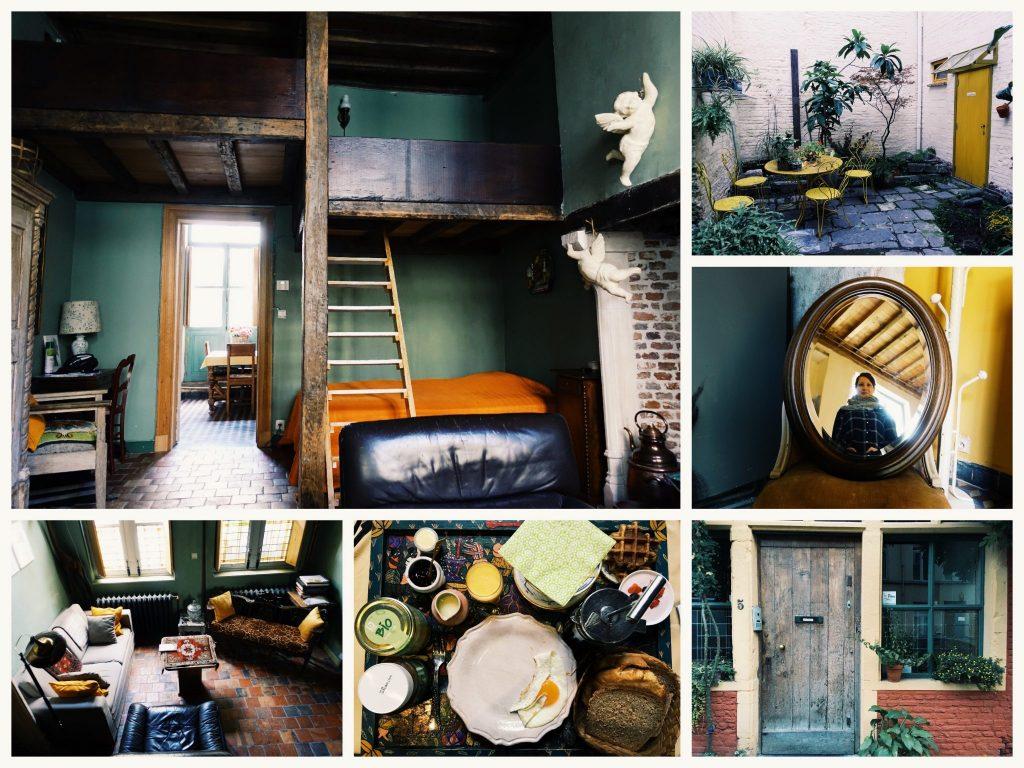 Fotocollage vom B&B Abrahams Prinsenhof: ein Bett und Hochbett, der Garten, ein ovaler Spiegel, ein Wohnzimmerbereich, das Frühstück, die Eingangstür