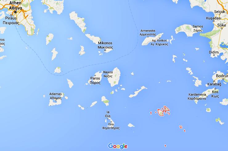 Quelle: Google Maps; Astypalea und seine dazugehörigen Inseln sind rot umrandet!