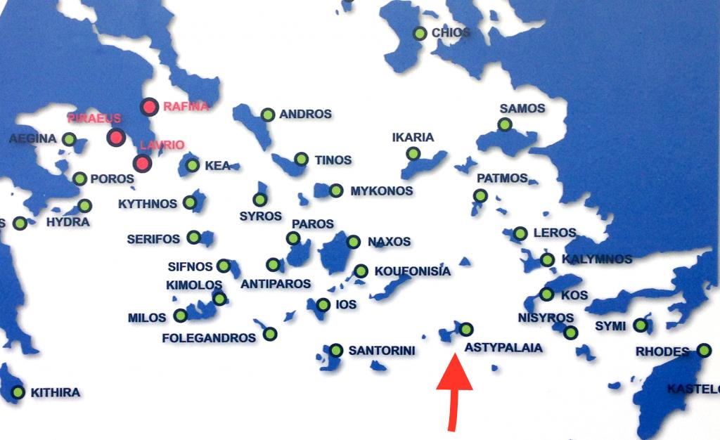 Graphische Darstellung der Inseln von der Fährlinie Blue Star