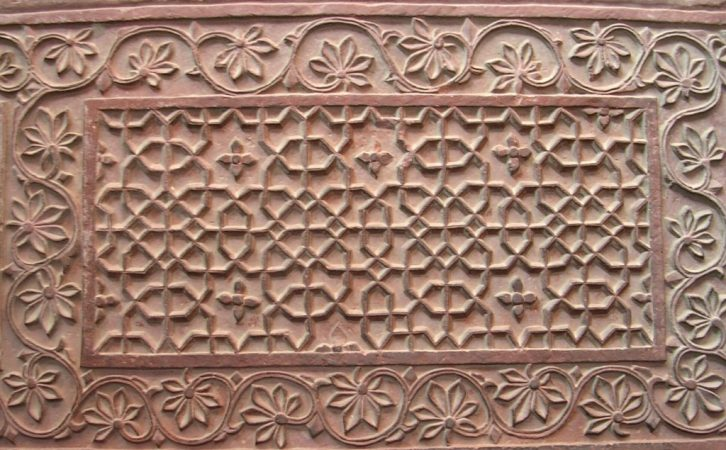 Wandverzierung in der Jama Masjid Moschee in Fatehpur Sikri