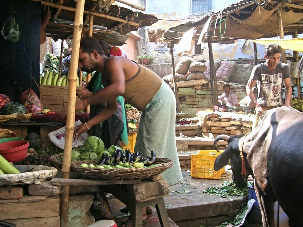 Ein Markt und eine Kuh in Varanasi