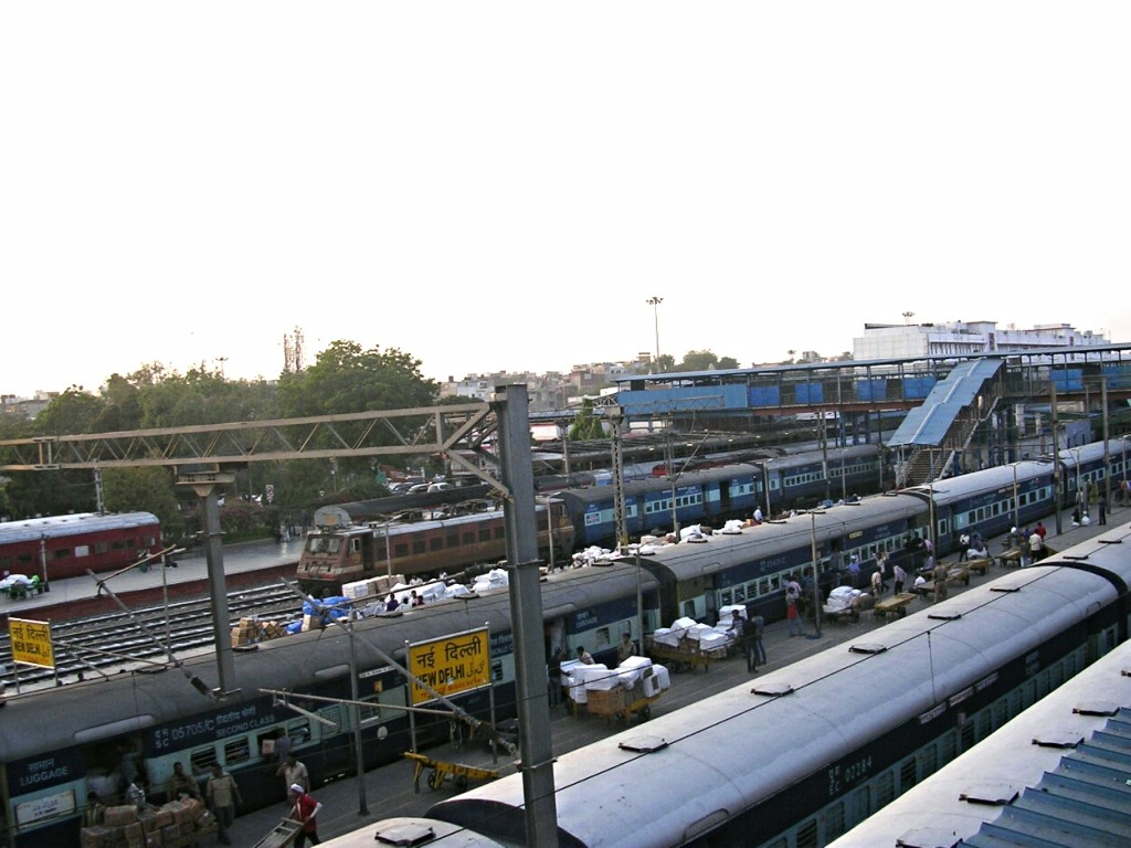 Züge am Bahnhof in New Dehli