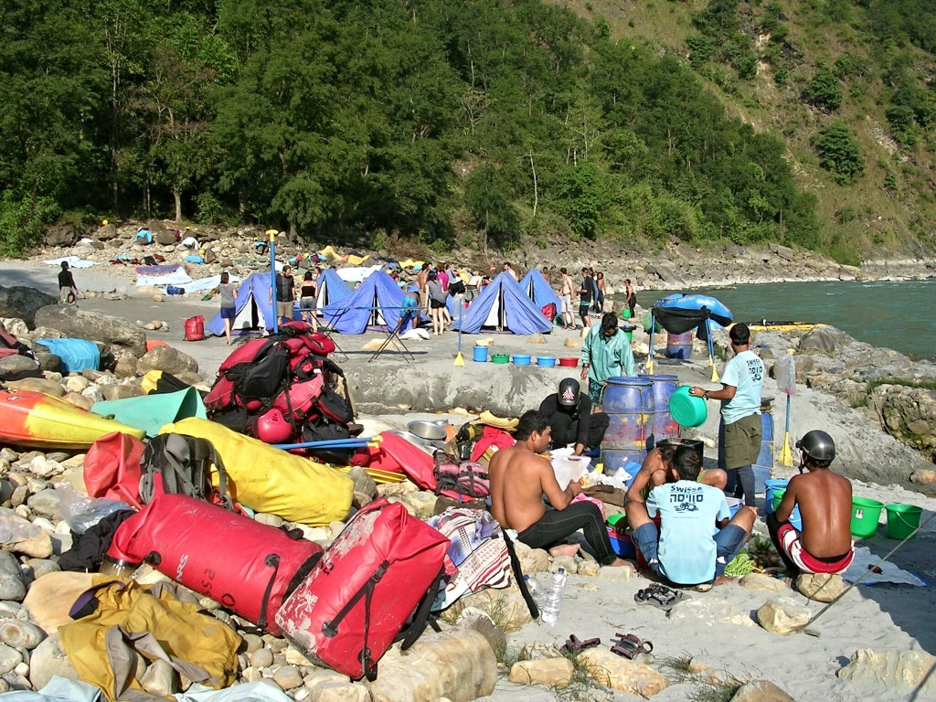 Camp beim Raften am Kali Gandaki Fluss