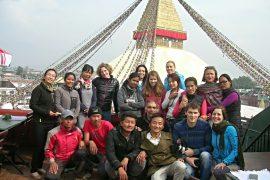 Gruppenfoto der TeilnehmerInnen in Bodnath