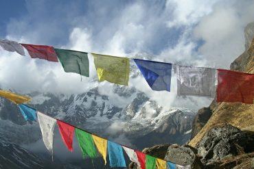 Tibetfahnen des Basislagers