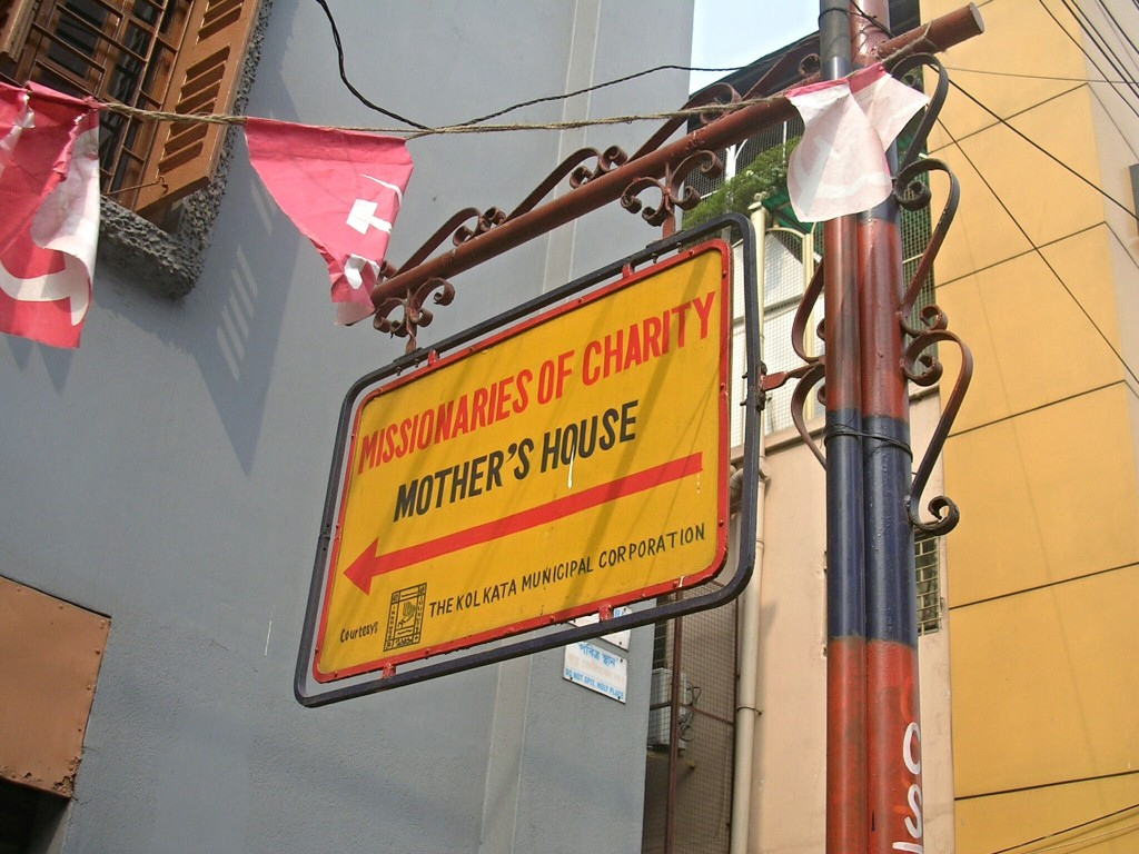 Hinweisschild zum Mother´s House in Kolkata