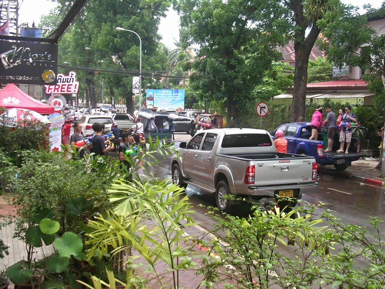 Pi Mai (Lao New Year) Wasserschlacht in Vientiane