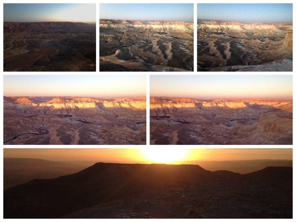 Collage wie sich die Sonnenstrahlen die Kraterlandschaft nach und nach beleuchtet