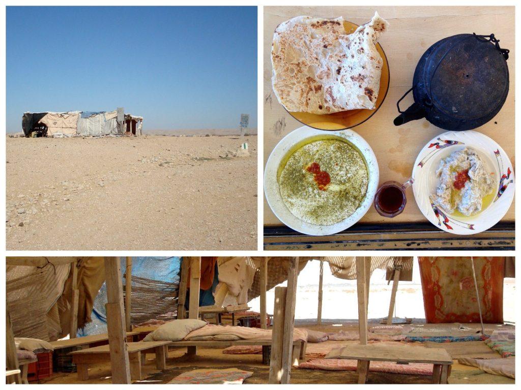 Collage mit dem Beduinenzelt, dem Speisen und der Ausstattung im Zeltinneren