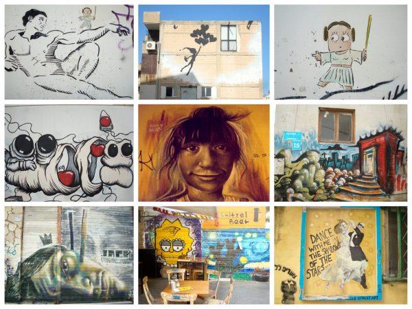 Collage von Streetart Kunstwerken im Stadtteil Florentin