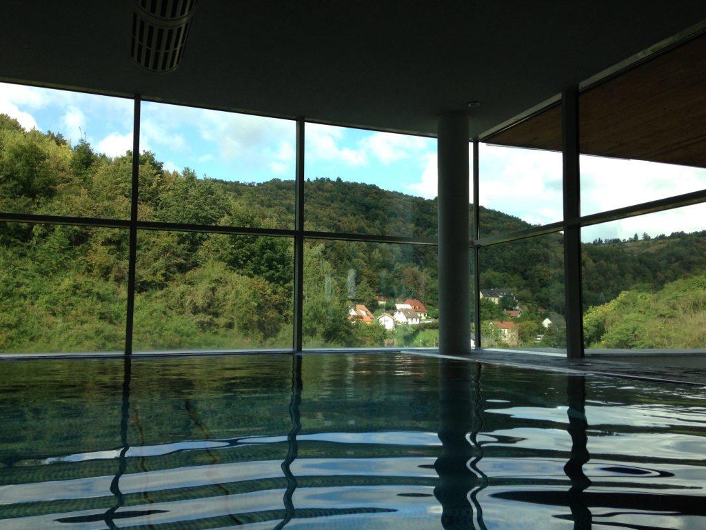 Aussicht vom Innenpool im Steigenberger Hotel Krems