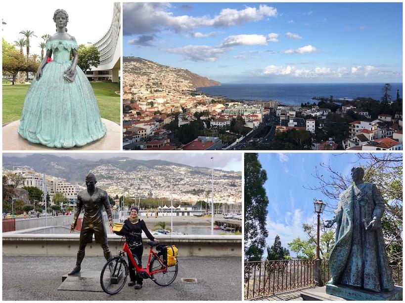 Collage: Sissi Statue, Ausblick aufs Meer, Cristiano Ronaldo Statue, Karl I.