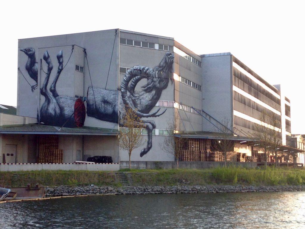 Das Bild eines zerschnittenen Steinbocks fügt sich perfekt in die Hausmauer ein - Kunstwerk vom belgischen Graffitimaler Roa