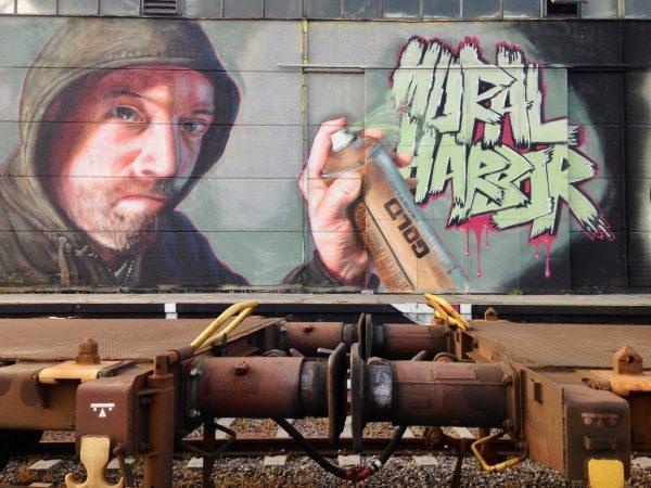 Graffiti von Shed in der Mural Harbor Hafengalerie in LInz