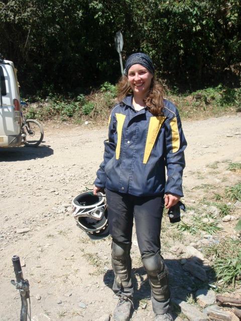 Ich am Ende der Mountainbiketour in den Yungas mit Ausrüstung
