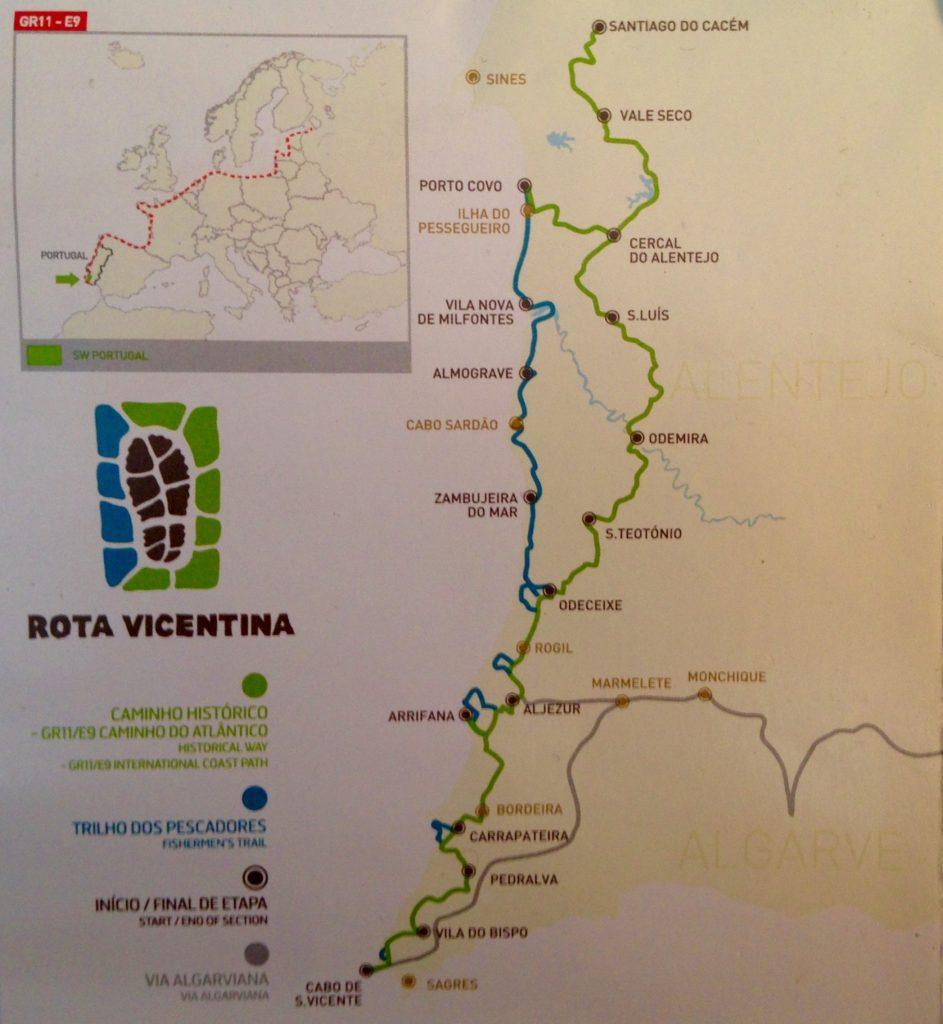 Überblick Wanderwegenetz Rota Vicentina