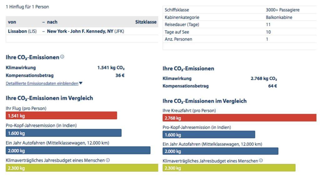 Screenshots: Atmosfair - Vorschläge für CO2 Kompensationszahlungen für einen Flug Lissabon nach New York (links) und einer Überseekreuzfahrt auf der gleichen Strecke