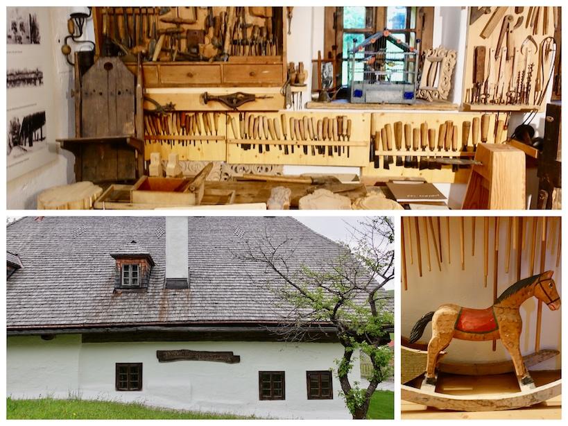 Collage: Weißes Haus von außen, kleines Schaukelpferd, Holzwerkstatt mit Werkzeug