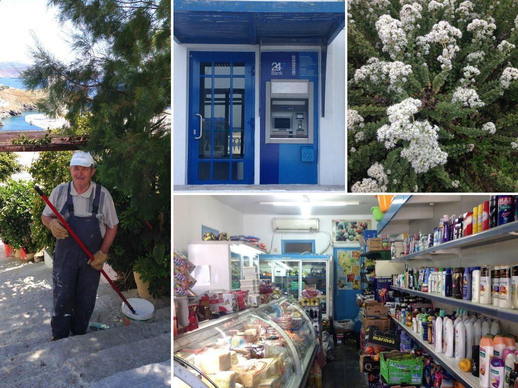 Astypalea: Collage zu Einkaufen, Bankomat, Grieche
